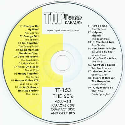 Top Tunes Karaoke - TT153 Label CDG