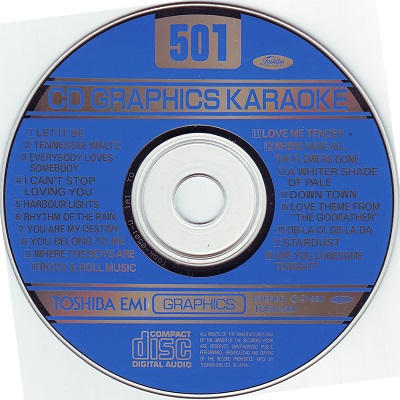 Toshiba Karaoke Disc TOS501 - Label DJ & KJ song books and track lists