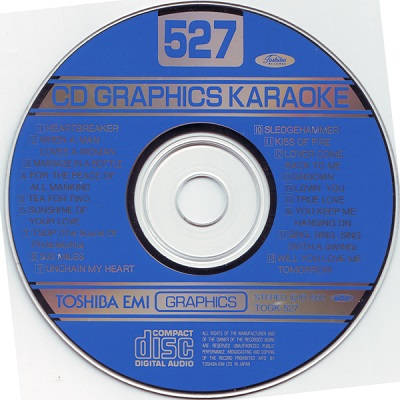 Toshiba Karaoke Disc TOS527 - Label DJ & KJ song books and track lists