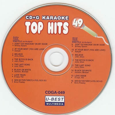U-Best Karaoke UBG049 - Label - DJ & KJ song books and track lists