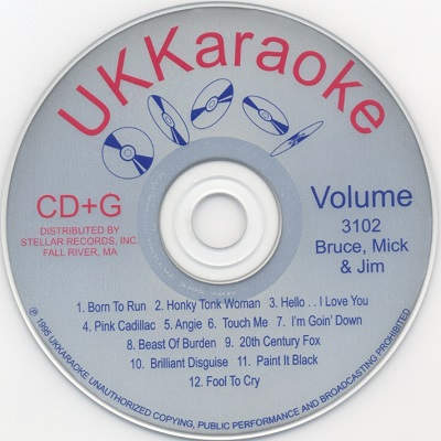 UK Karaoke Disc UKK3102 - Label - DJ & KJ song books and lists - disc identity