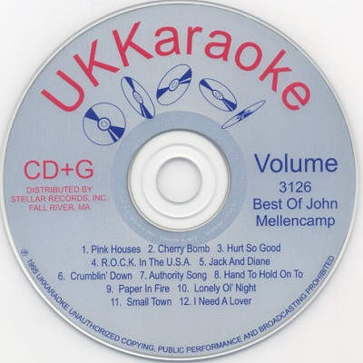 UK Karaoke Disc UKK3126 - Label DJ & KJ song books and track lists