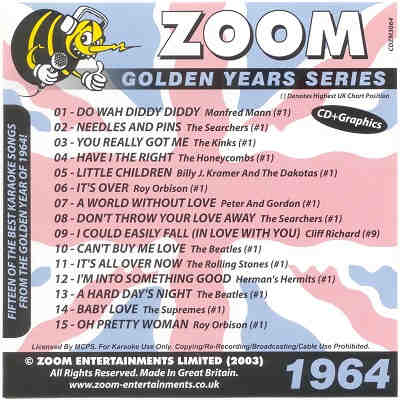 Zoom Karaoke Disc ZMGY64 - Front DJ & KJ song books and track listings