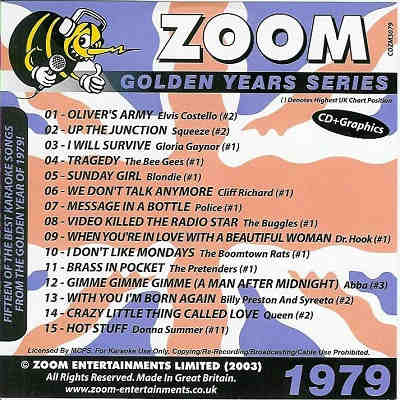 Zoom Karaoke Disc ZMGY79 - Front CD+G 1970