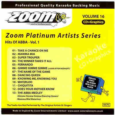 Zoom Karaoke Disc ZMP016 - Front - DJ & KJ song books and lists