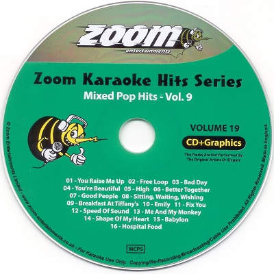 Zoom Karaoke Hits Disc ZKH019 - Label CDG