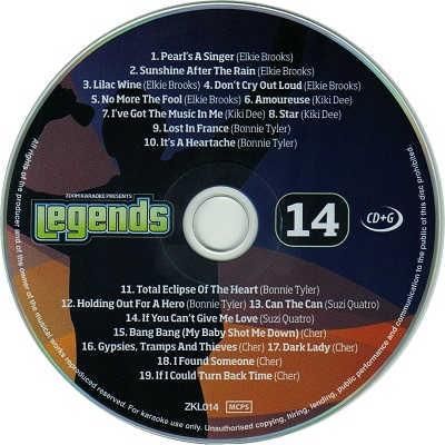 Zoom Karaoke Legends Disc ZKL014 - Label KJ song lists
