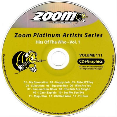 Zoom Karaoke Platinum Artist Disc ZMP111 - Who Label - DJ & KJ song books and track lists