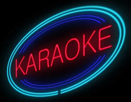 Magic Tracks Karaoke - neon sign red and blue