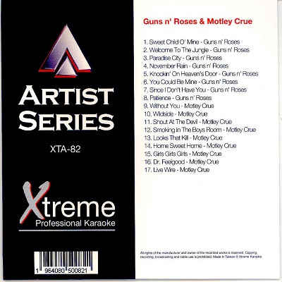 Xtreme Professional Karaoke - XTA082 - Front - Guns n Roses & Motley Crue