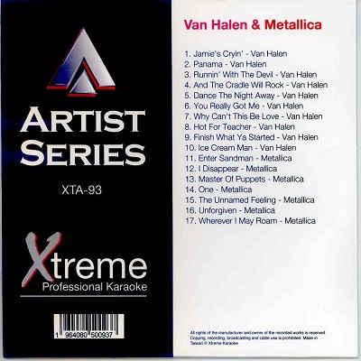 Xtreme Professional Karaoke - XTA093 - Front - Metallica - Van Halen CDG