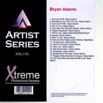 Xtreme Professional Karaoke - XTA110 - Front - Bryan Adams CDG