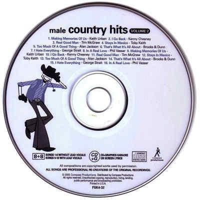 Five Star Karaoke - Male Country disc - FSK4-32 Label CDG