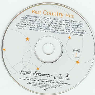 Lucky Star Karaoke - Best Country Hits - LKY8 CDG Disc Label